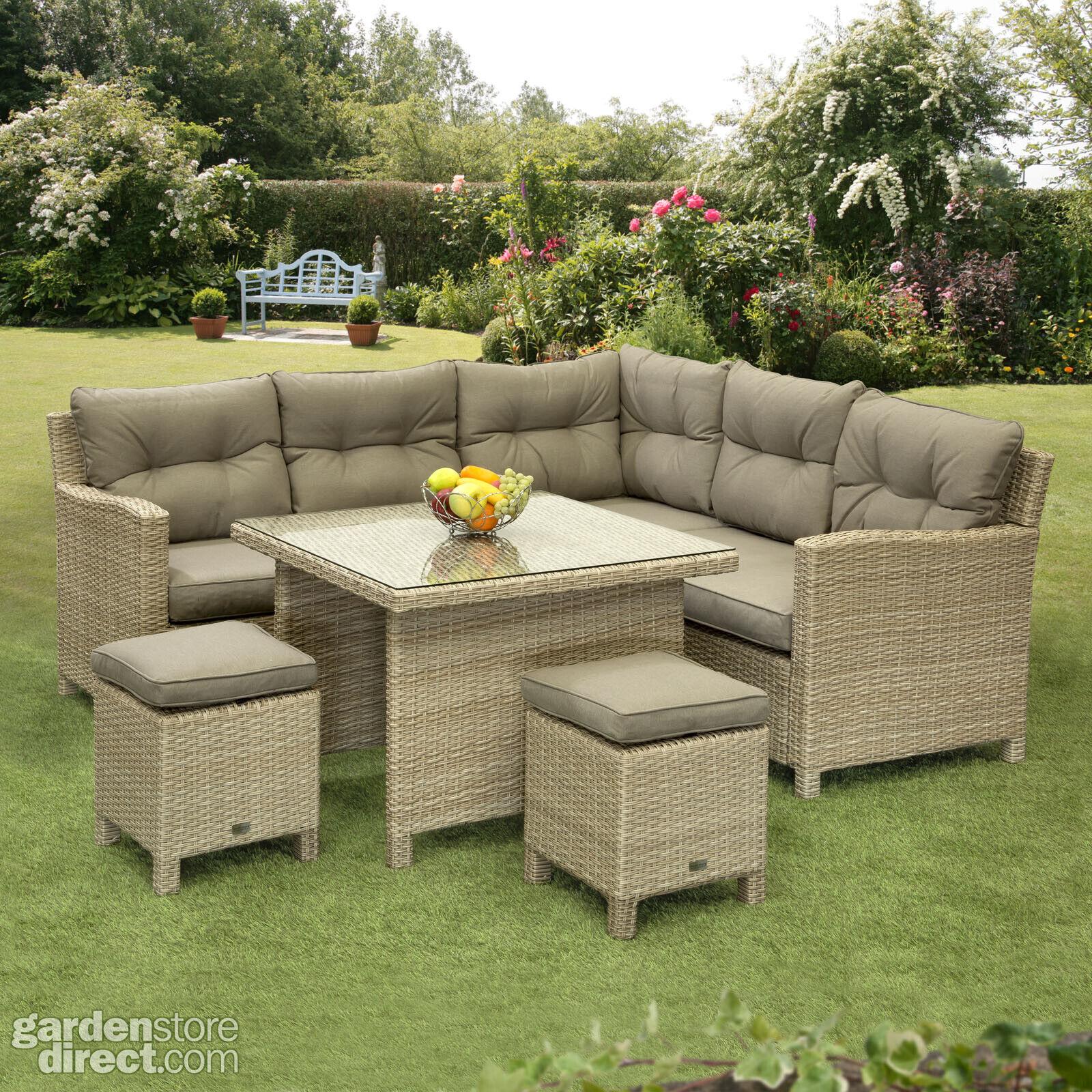 Garden Furniture - Sarasota Rattan Garden Dining Set 2,4,6,7 Seat Wicker Sofa Set Sun Lounger