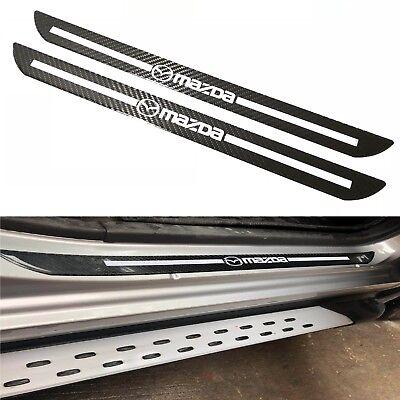 2Pcs Mazda Carbon Fiber Car Door Welcome Plate Sill Scuff Cover Decal Sticker