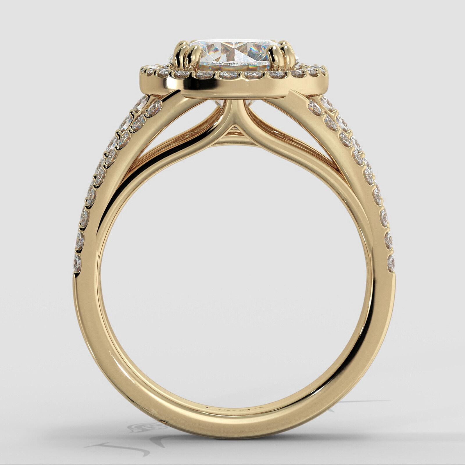2ct Trio Shank Halo Sidestone Round Diamond Engagement Ring GIA E-VS2 White Gold 11