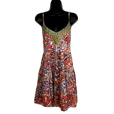 Free People M Swing dress floral Cotton knit beaded spaghetti strap orange