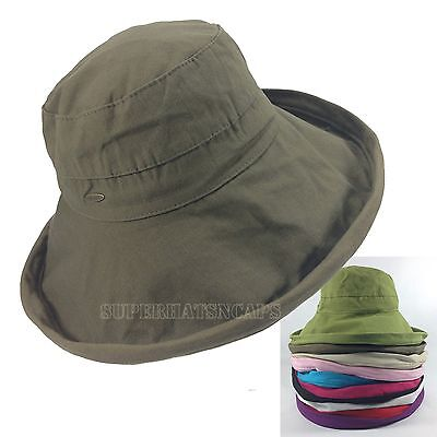 Cotton Packable Floppy Wide Brim Outdoor Sun Cloche Bucket Visor Hat
