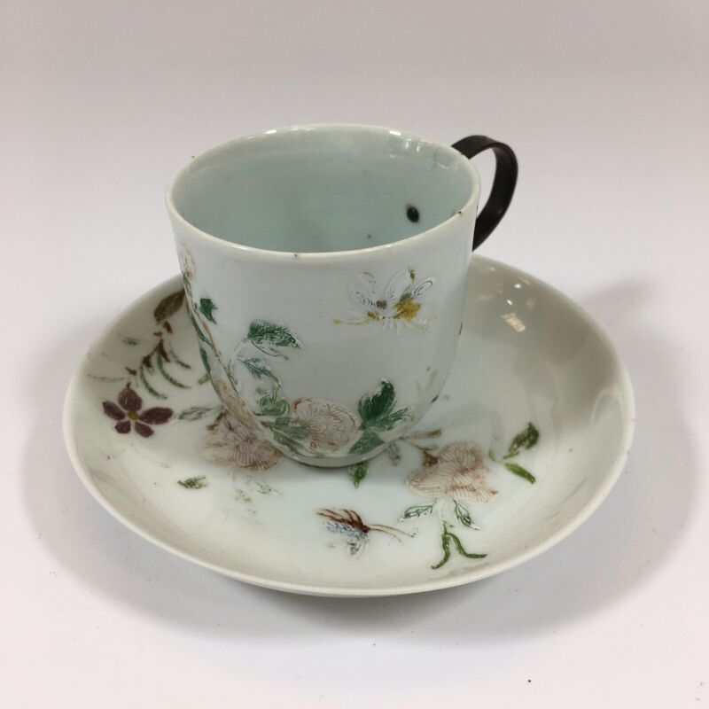 Antique Chinese Floral Cup & Saucer 6cm Cup Height