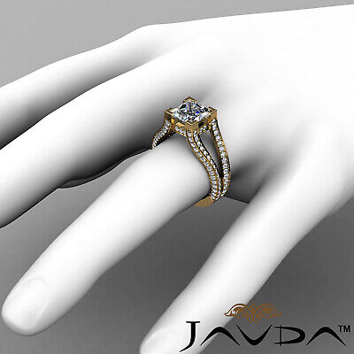 Circa Halo Split Shank Princess Diamond Engagement Pave Set Ring GIA H VS2 2.4Ct 7