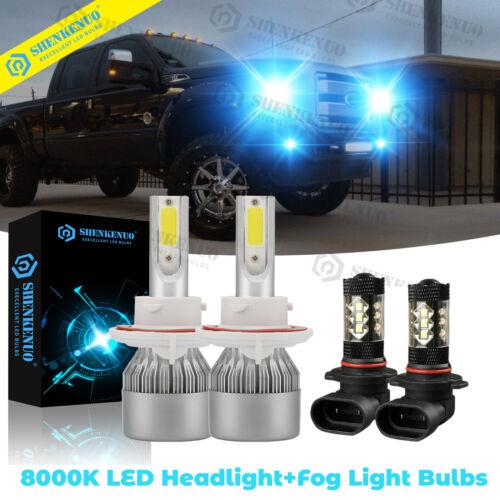 For 2004-2014 Ford F-150 - 4x 8000K LED Headlight Hi/Lo + Fog Lamp Bulbs Combo
