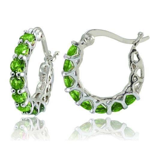 """3.00 Cttw Sterling Silver Round Peridot J-Hoop Earrings 0.85"""""""