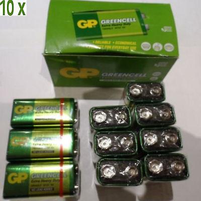 10 x GP GREENCELL EXTRA HEAVY DUTY 9V PP3 BATTERY ()