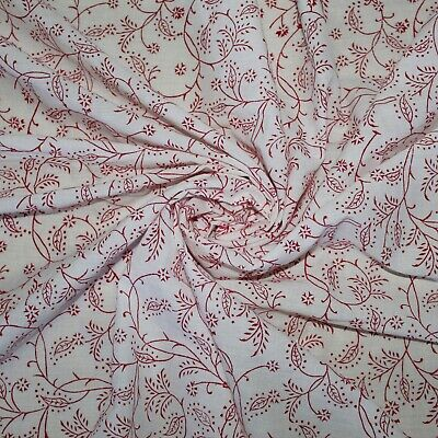 Indian Fabric Supply Hand Block Print White Cotton Voile Craft Sewing 5 Yard