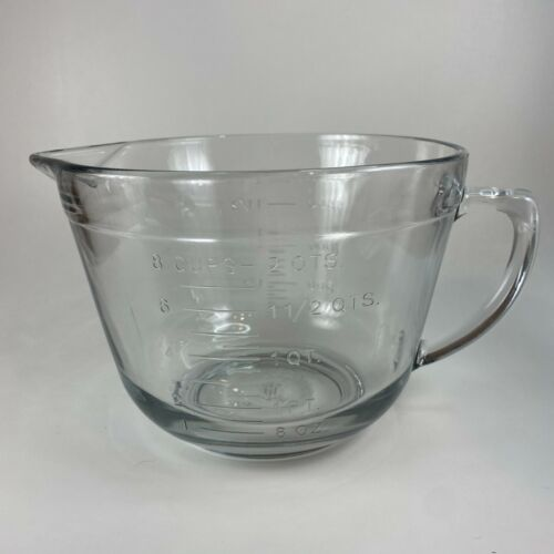 Anchor Hocking 2 Quart Measuring Clear Glass Bowl Cast Markers