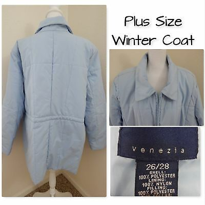 /JACKET Venezia~Pale Blue Poly Pockets Full Zip Size 26/28 (Plus Size Kleider Puffy)