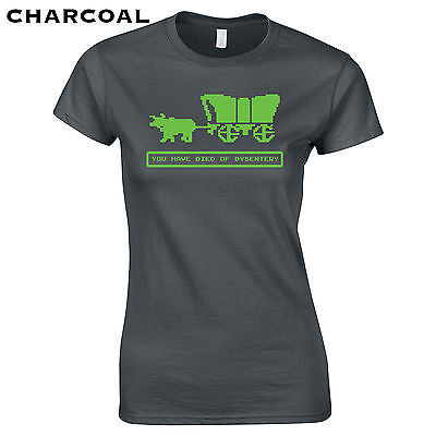 202 Died Of Dysentery Womens T Shirt Funny Video Game Oregon West Cool Computer