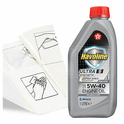 Engine Oil Top Up 1 LITRE Texaco Havoline Ultra S 5w-40 1L +Gloves,Wipes,Funnel