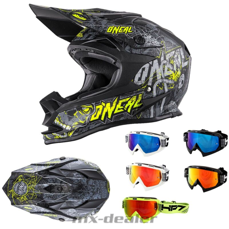 O/'Neal 2series Spyde Noir//Jaune Casque Cross Casque Mx Motocross Traverser Hp7