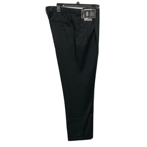 Roundtree & Yorke Travel Smart Classic Fit pleated Cuffed Pants 34×32 Black Clothing, Shoes & Accessories