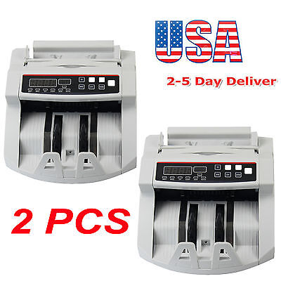 2pcs Bill Money Counter Counting Machine Uvmg Counterfeit Automatic Detector Us