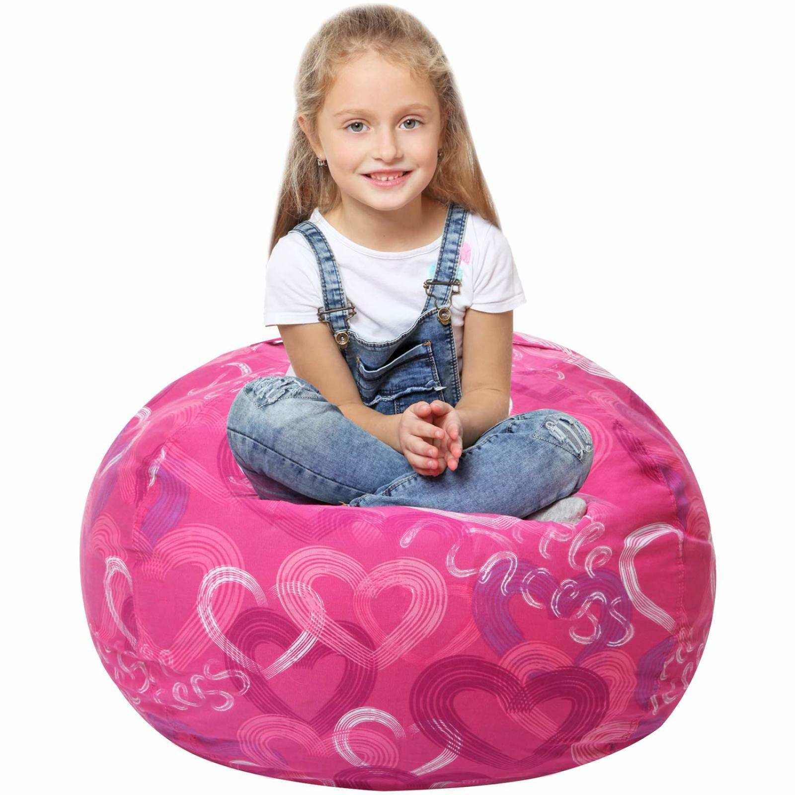 Stuffed Animal Storage Bean Bag Chairs Kids Girls Plush Toys