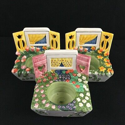 Set of 3 Yankee Candle Tealight Candle Holder Window Flower Boxes Tulips Hearts
