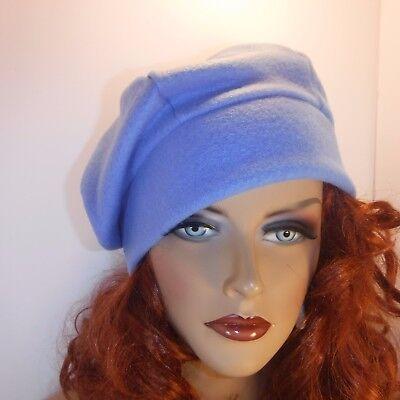 Chemo Hat Light Blue Anti-pill Warm Fleece Beret Cap