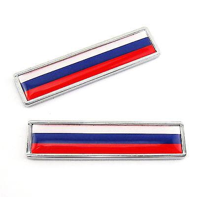 2 x Stainless Metal Russian Flag of Russia Emblem Sticker For Kawasaki Gas Tank