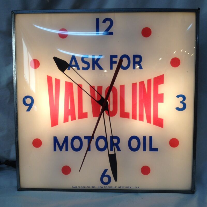 "Vintage  ""Ask For VALVOLINE Motor Oil"" advertising clock by Pam"