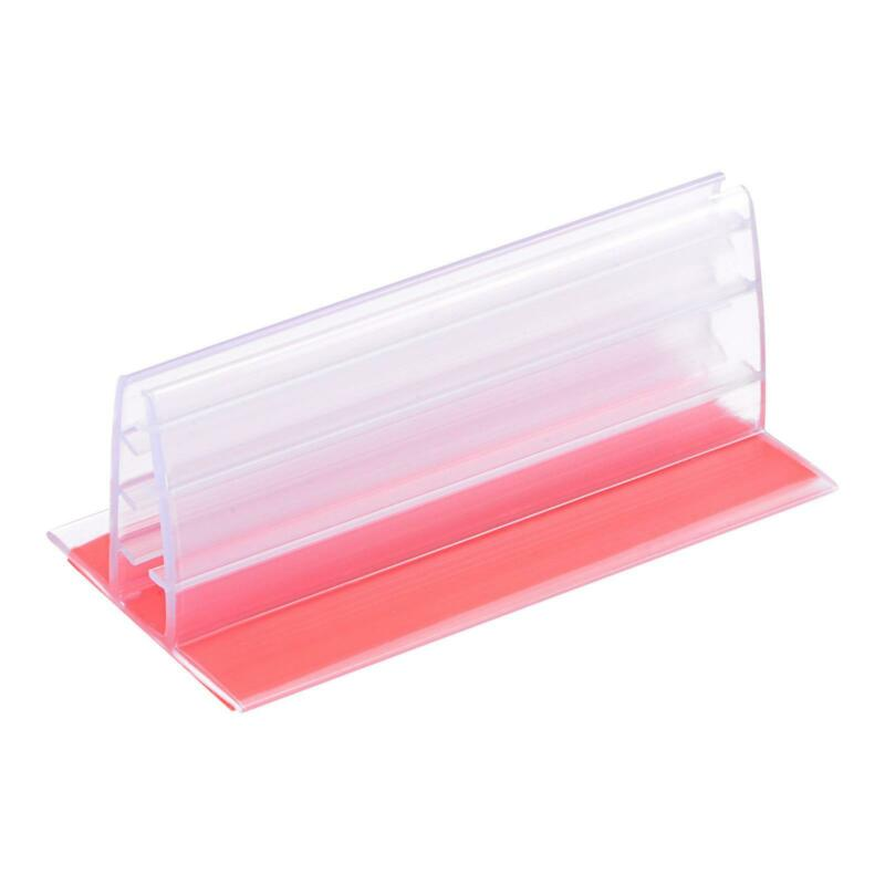 Sign Holder with Adhesive Fits Max 10mm Thickness Panel for Desk Counter, 20pcs