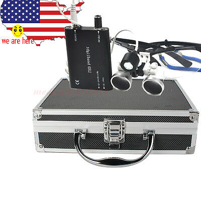 Black 3.5x420 Dental Binocular Loupes Magnifier Led Head Light Lamp W Metal Case