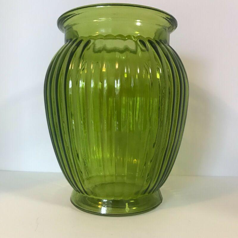 "Vintage Avocado Green Pressed Glass Vase Ribbed Design 7-1/2"" Tall"