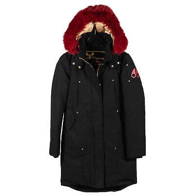 Moose Knuckles Sterling Parka Black w/Scarlet Fur Women Small Coat/Jacket