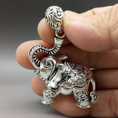Collectable Tibet Silver Hand Carved Elephant Model Pattern Pendant