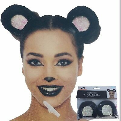 Party Panda Ear Hair Clip Fur Ears Glitter Costume Halloween Cosplay Black White