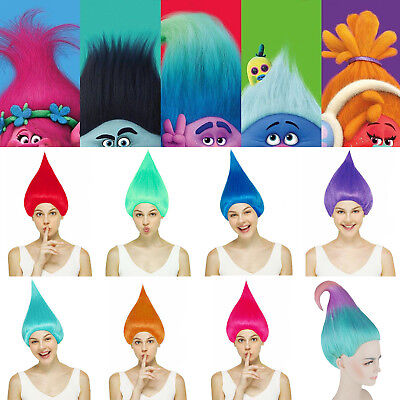 Troll Wig Costume (Trolls Poppy Elf/Pixie Wigs Fancy Dress Cosplay Costume Props Hairpiece Wig)