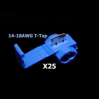 25x Blue 16-14 Awg Scotch Lock T Tap Car Audio Electronics Connectors Terminals