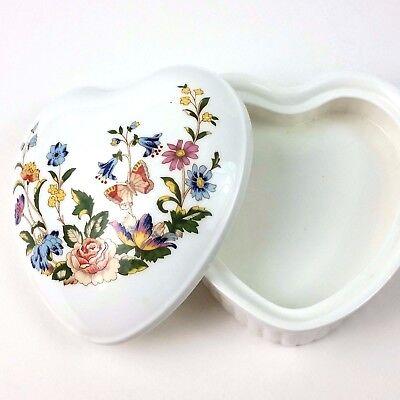 Aynsley Fine Bone China English Cottage Garden  Heart Shaped  Trinket box
