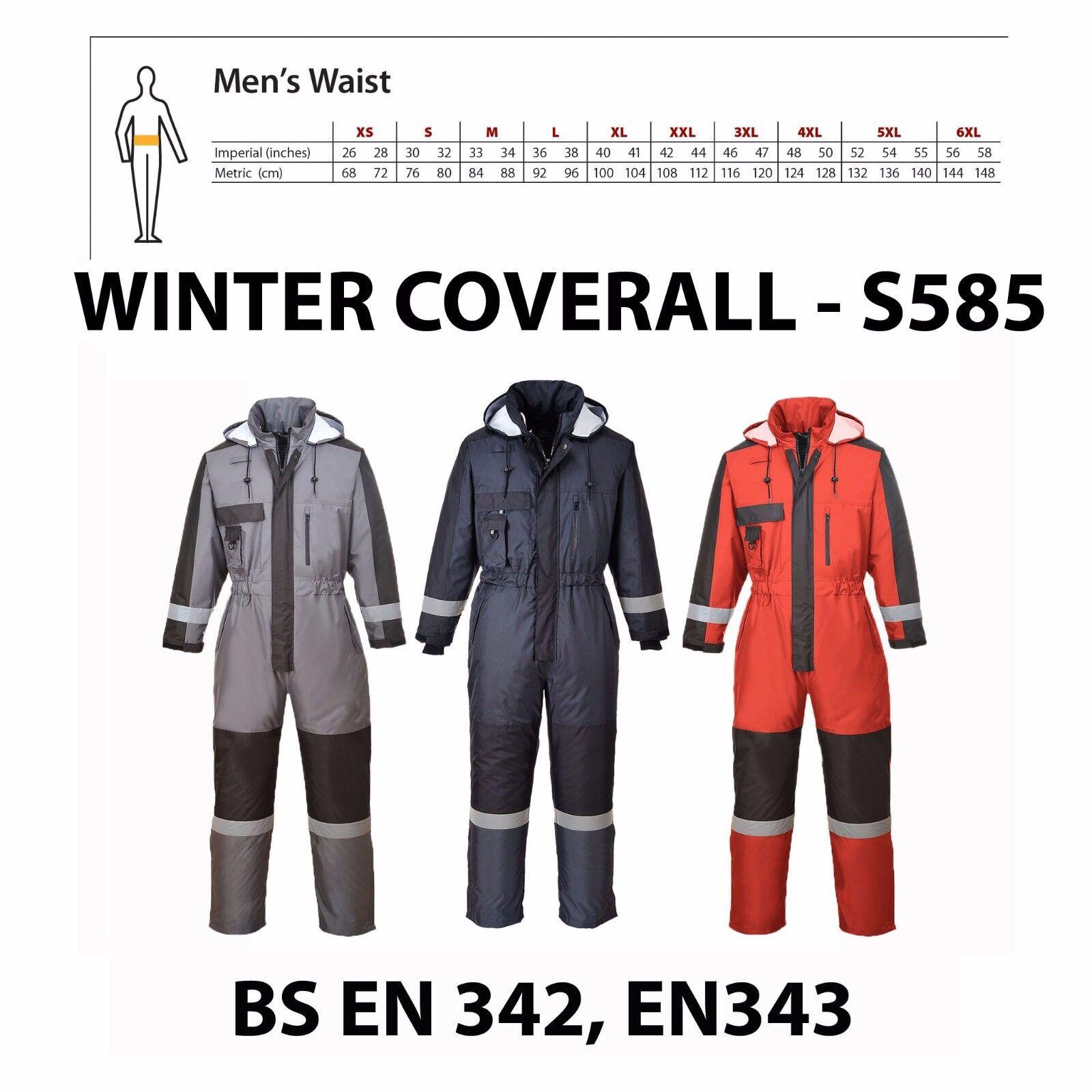 Portwest Invernale Imbottito Impermeabile Isolato Complessivo Tuta Cappuccio Workwear S585