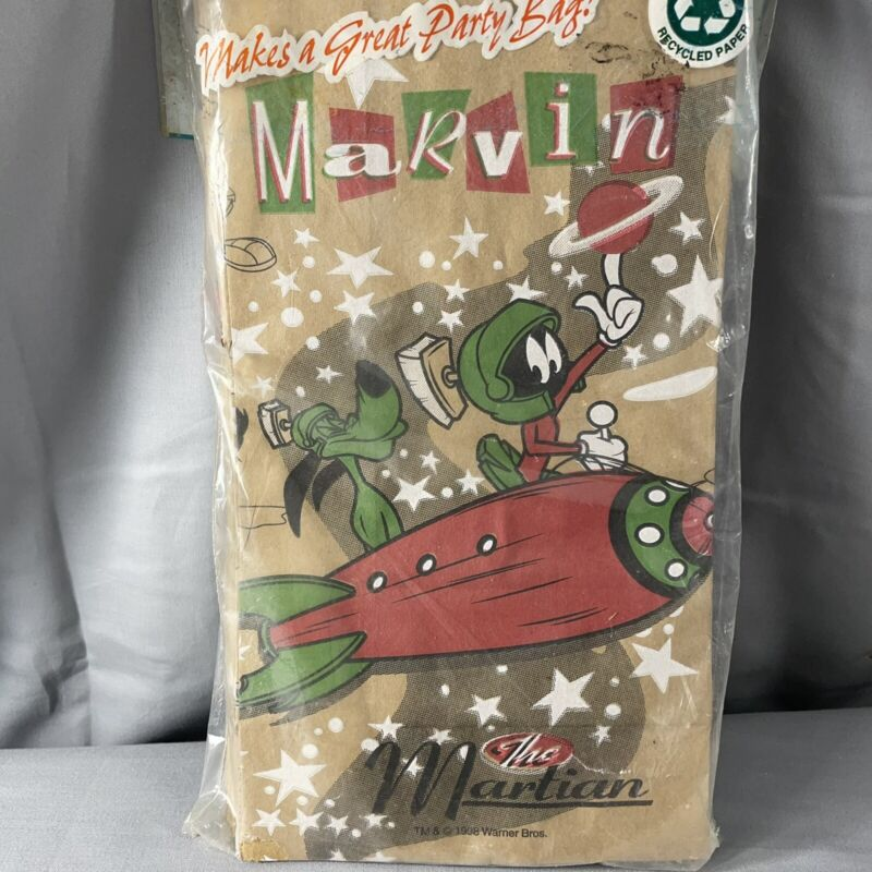Looney Tunes Marvin The Martian Printed Paper Lunch Bags Party Bag 20 Ct NIP