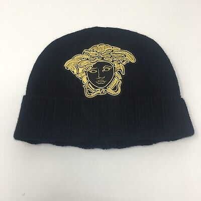 VERSACE 100% Cashmere Black Knitted Beanie Hat with Gold Medusa Embroidery  L