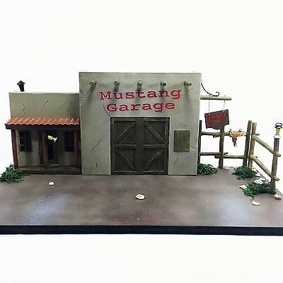 RARE Lennox MUSTANG GARAGE Diorama DieCast Car Display For 1:24 Scale Vehicles