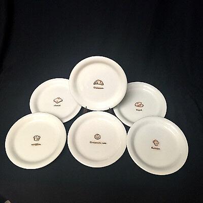 -  Williams Sonoma Breakfast Plates 6 Bagel Croissant Toast Muffin Cinn Roll Brioc