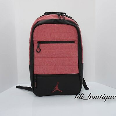 56a5e39ea7f7 NWT Nike Air Jordan 9A1944-R79 Airborne Laptop Backpack Gym Red Heather  Black 65