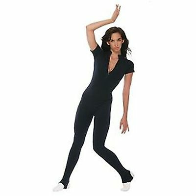 NWT Sansha Dance Stirrup Unitard Black or Burgundy Cotton/Lycra   Adult XS-L - Black Cotton Unitard