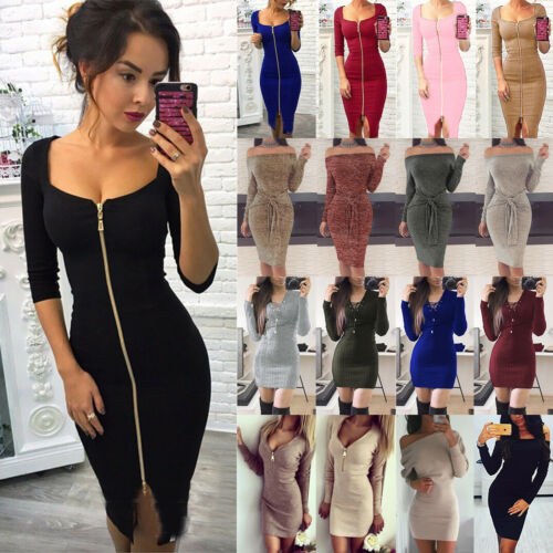 5f9815f622e6e0 Womens Bodycon Dress Stretch Long Sleeve Knitted Midi Jumper Sweater ...