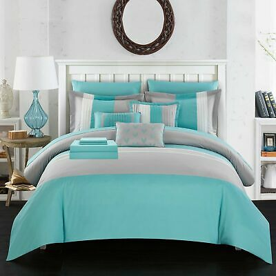 Chic Home Moriarty 8 Piece Comforter Set Color Block Ruffled Bed in a Bag...