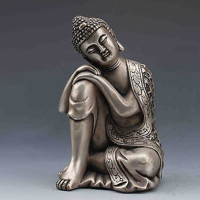 Chinese Tibetan Silver Hand-Carved Seated Buddha statues G603