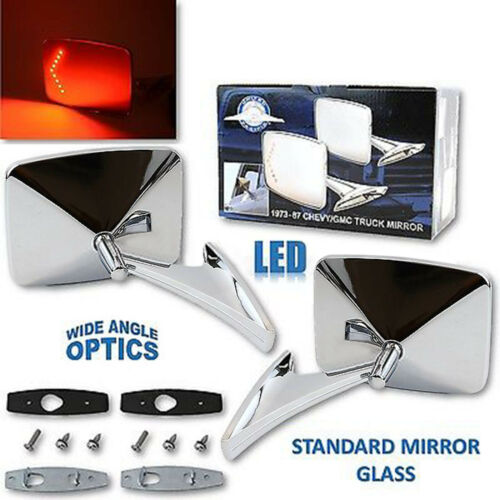 73-91 Chevy Truck Chrome Square LED Turn Signal Convex Rear View Door Mirrors Pr