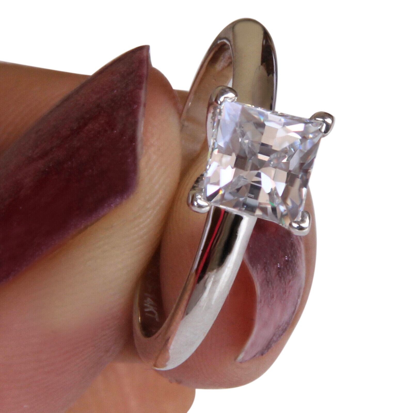 1.85 Carat Princess Shape Solitaire Women's Wedding Ring - 925 Sterling Silver 7
