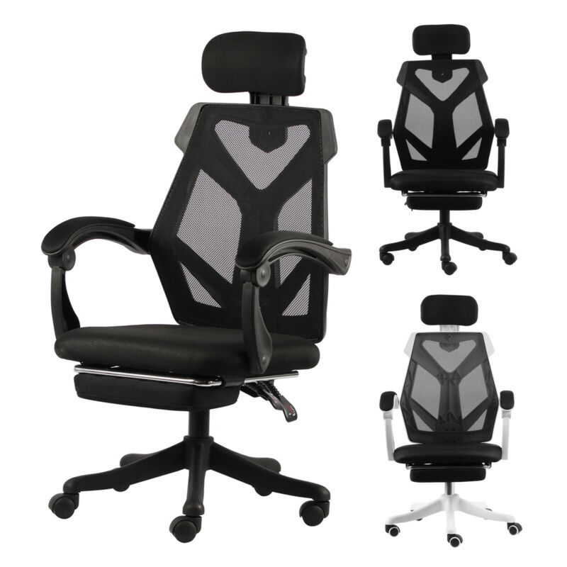 Swivel Gaming Office Chair High-back Adjustment Ergonomic Recliner Footrest Pad