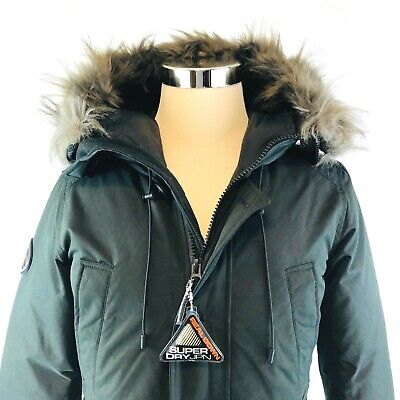 SuperDRY Rookie Down Insulated Faux Fur Trimmed Black Parka Coast Mens Small NWT