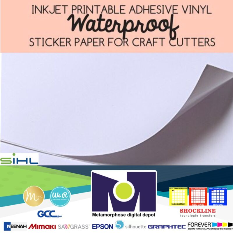 "SIHL Inkjet Printable Vinyl Sticker Paper GLOSSY  10 Sheets, 8.5""x11"" Waterproof"