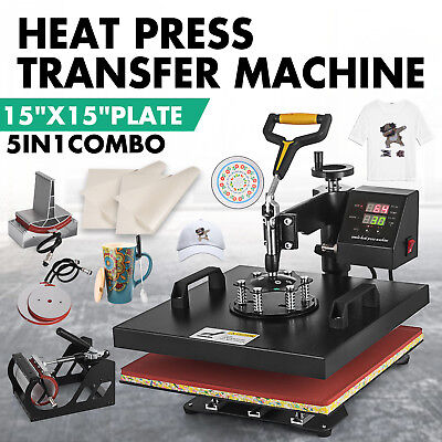 5in1 T-shirt Heat Press Transfer Machine 15x15 Sublimation Digital Swing Away
