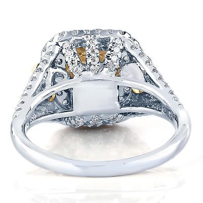 GIA Certified 2.31 Ct Fancy Light Yellow Radiant Cut Diamond Engagement Ring 18k 3