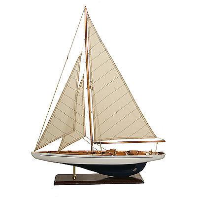 Segelboot Segelschiff Segelyacht Holz blau weiß u.schwarz Deko Standmodell 60 cm